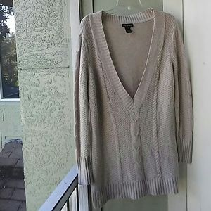 LANE BRYANT TAN CABLE KNIT SWEATER 14/16